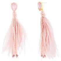 Catherine Malandrino Feather & Bead Tassel Earrings