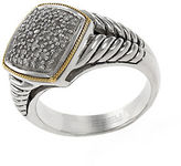 Effy Sterling Silver 18Kt Yellow Gold and Diamond Ring