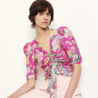 Sandro Linen and silk printed top