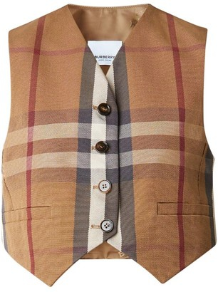 Burberry Check Cropped Waistcoat