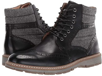 Stacy Adams Granger Wing Tip Lace Boot (Black) Men's Shoes