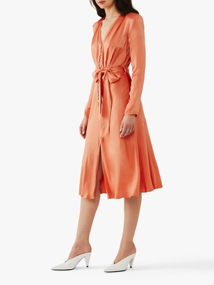 Ghost Meryl Satin Button Dress
