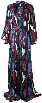 Carolina Herrera Feather Print Long Dress