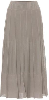 Agnona Pleated stretch-knit midi skirt
