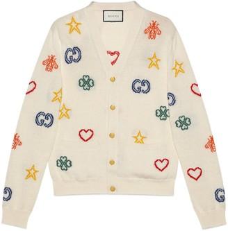 Gucci Symbols jacquard cotton linen cardigan