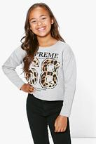 Boohoo Girls 68 Leopard Sweat Top