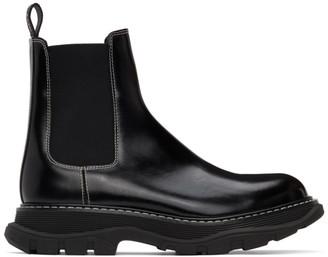 Alexander McQueen Black Contrast Stitch Tread Chelsea Boots