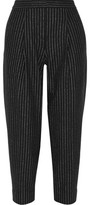 DKNY Cropped Pinstriped Wool-Blend Tapered Pants