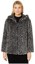 Vince Camuto Hooded Zip Front Faux Fur Jacket V29753 (Grey Leopard) Women's Clothing