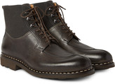 Heschung - Ginkgo Pebble-grain Leather And Canvas Boots