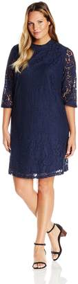 Junarose Women's Plus Size Hania Elbow Sleeve Shaped Lace Dress