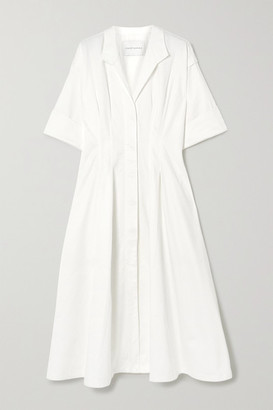 KING & TUCKFIELD Pleated Cotton Shirt Dress - White