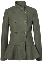 Banana Republic Italian Melton Wool-Blend Peplum-Hem Coat