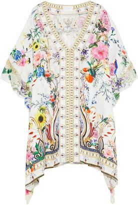 Camilla Hotel Boheme Georgette-trimmed Printed Silk-jacquard Kaftan