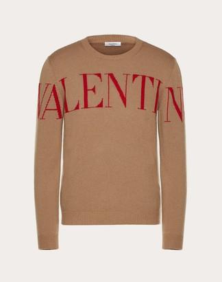 Valentino Uomo Crew-neck Sweater With Print Man Camel Cashmere 100% XL