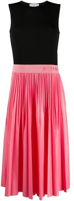 Givenchy Logo-Waistband Pleated Midi-Dress