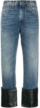R 13 Leather Cuff Wide Denim Jeans