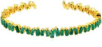 Artisan 18K Yellow Gold Baguette Emerald Cuff Bangle Gemstone Jewellery