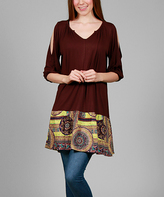 Aster Brown & Yellow Arabesque Cutout Tunic - Plus Too