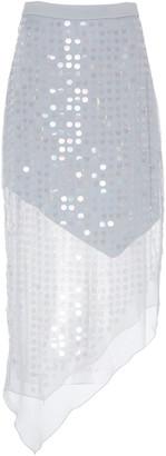 Cushnie Asymmetric Sequined Silk-Chiffon Midi Skirt