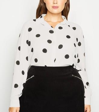 New Look Curves Spot Long Sleeve Shirt