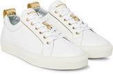 Balmain Metallic-Trimmed Leather Sneakers