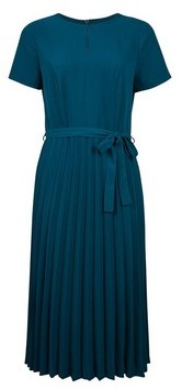 Dorothy Perkins Womens Teal Blue Pleated Midi Dress With Pleated Skirt, Blue