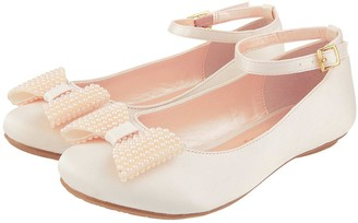 Monsoon Girls Pearl Bow Satin Ballerina Shoe - Champagne