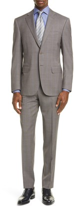 Canali Siena Soft Classic Fit Stretch Windowpane Wool Suit