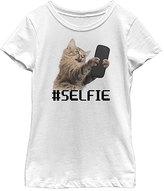 Fifth Sun White Cat '#selfie' Scoop Neck Tee - Girls