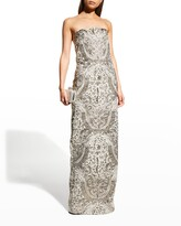 Thumbnail for your product : Monique Lhuillier Metallic Strapless Column Gown