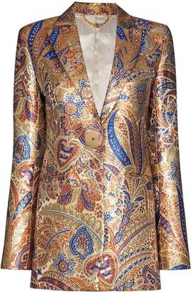 Paco Rabanne Metallic Paisley-Print Blazer Jacket