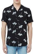 Topman Trim Fit Leaf Print Short Sleeve Woven Sport Shirt