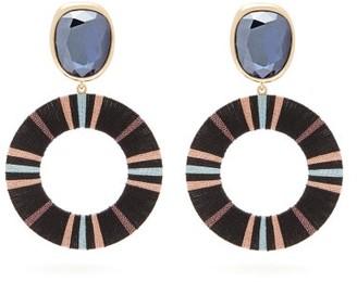 MaryJane Claverol Marshall Crystal-embellished Drop Hoop Earrings - Black Multi