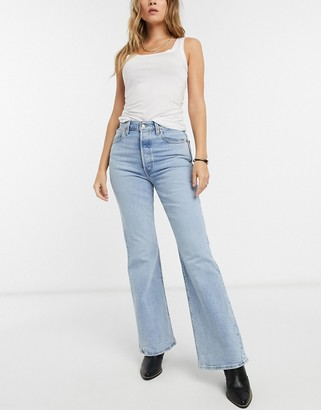 Levi's Ribcage flare jeans in light wash blue