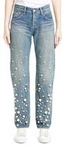 Women's Tu Es Mon Tresor Snow Imitation Pearl Embellished Jeans