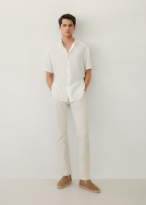 MANGO MAN - Regular-fit Mao collar lyocell shirt white - XL - Men