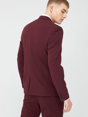 River Island Stretch Skinny Suit Jacket - Dark Red