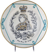 One Kings Lane Vintage Antique Majolica Queen Victoria Plate
