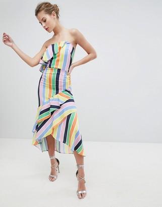 True Violet Bandeau Midi Dress With Frill Hem