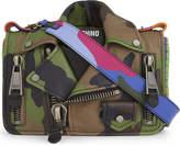 Moschino Camouflage leather biker jacket shoulder bag