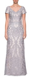 La Femme Embroidered Lace Column Dress