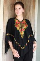 Black Wool Poncho with Lavish Chain Stitch Floral Embroidery, 'Midnight Floral Grandeur'