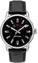 Paul Smith Men's Quartz Watch with Black Dial Analogue Display and Black Leather Strap P10021