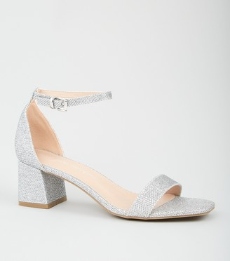 New Look Glitter 2 Part Flared Block Heels