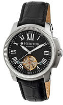 Heritor Automatic Franklin Mens Semi-Skeleton Leather-Silver/Black Watches