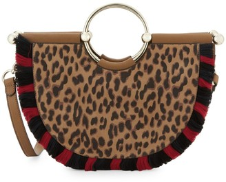 Vince Camuto Small Fringe Leopard-Print Half-Moon Crossbody Tote