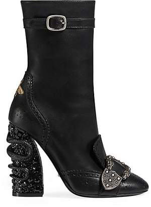 Gucci Women's Buckle-Strap Leather Ankle Boots - Black