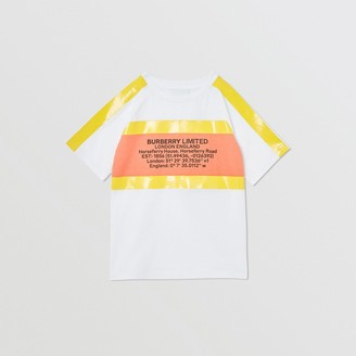 Burberry Childrens Tape Detail Location Print Cotton T-shirt