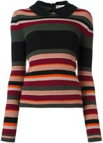 RED Valentino collar detail striped jumper